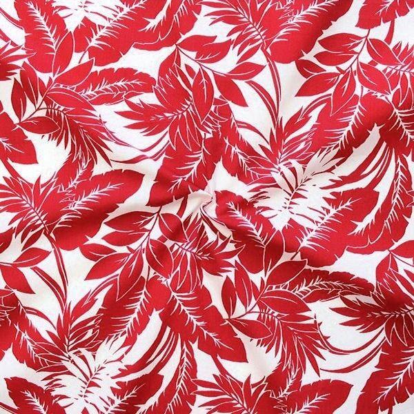 100% Baumwolle Popeline Hawaii Palmen Rot