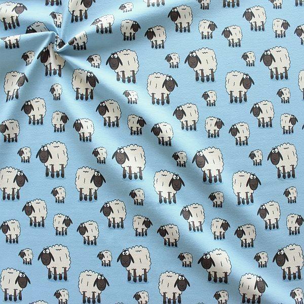 Baumwoll Stretch Jersey Schafe Hell-Blau