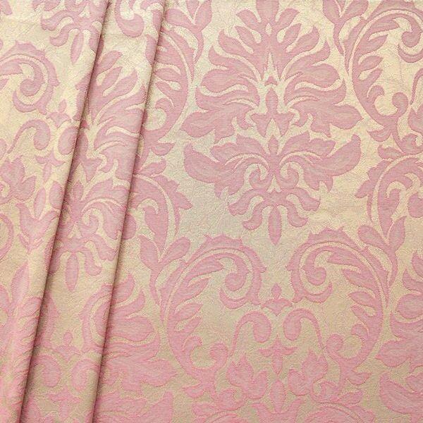Dekostoff Jacquard Floral Barock Beige-Rosa