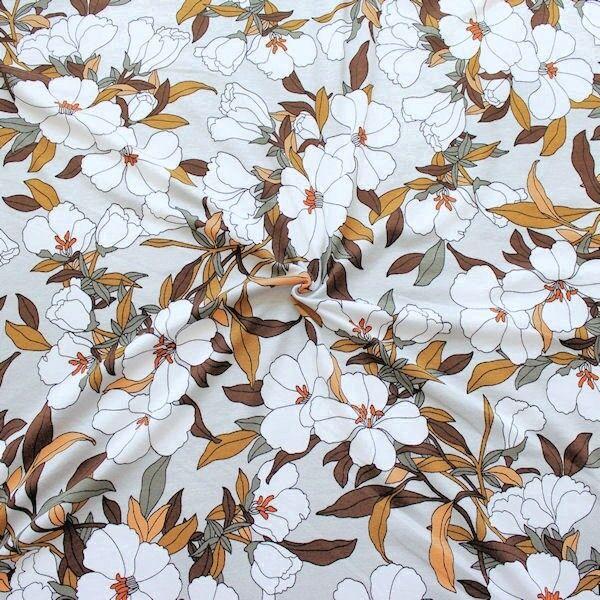 """Viskose Stretch Jersey """"Blütentraum 2"""" Farbe Hell-Grau Braun"""