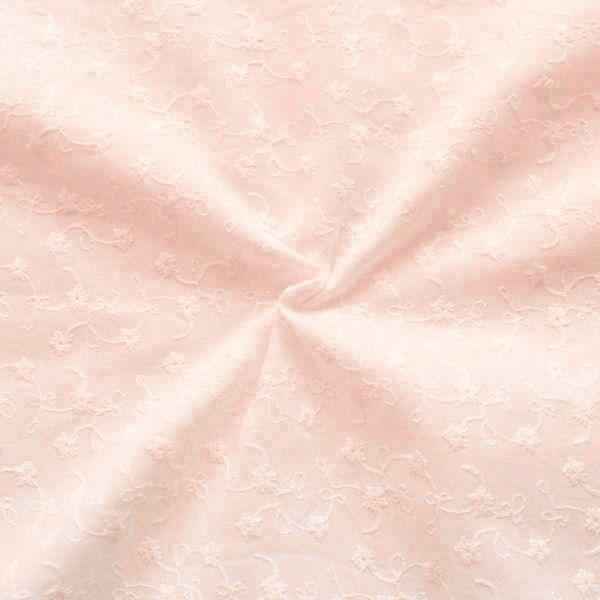 """100% Baumwollstoff bestickt """"Blumenranken"""" Farbe Rosa"""