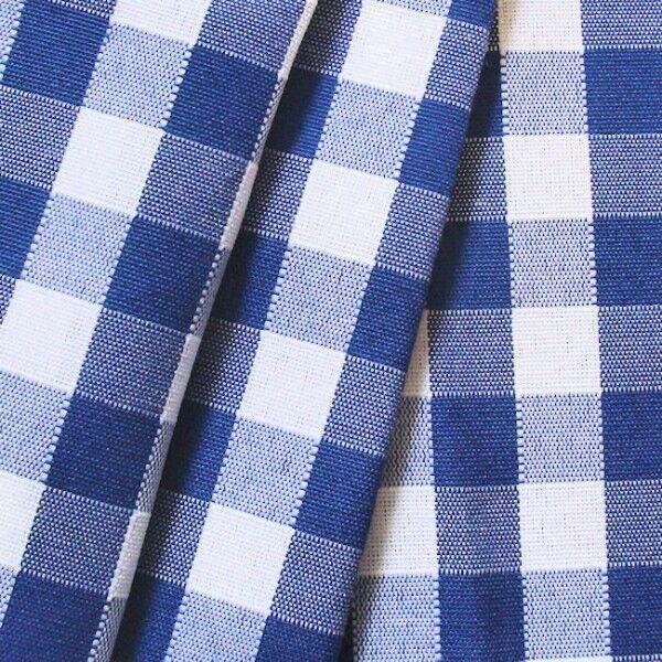 "Deko / Outdoorstoff ""Karo"" Artikel Bora Bora Farbe Blau-Weiss"
