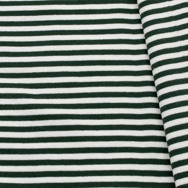 Baumwoll Bündchenstoff Ringel glatt Dunkel-Grün Weiss
