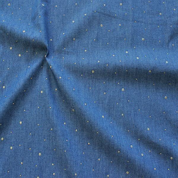 Baumwollstoff Chambray Glitter Dots Jeans-Blau