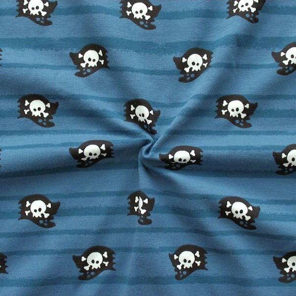 "Baumwoll Stretch Jersey ""Totenkopf Fahne"" Farbe Blau"