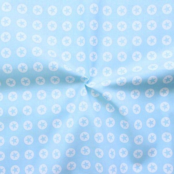 """100% Baumwollstoff """"Stern im Kreis klein"""" Farbe Hell-Blau"""