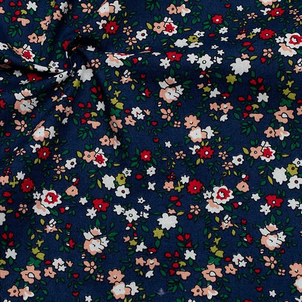 Baumwollstoff Popeline Kleine Blüten Dunkel-Blau