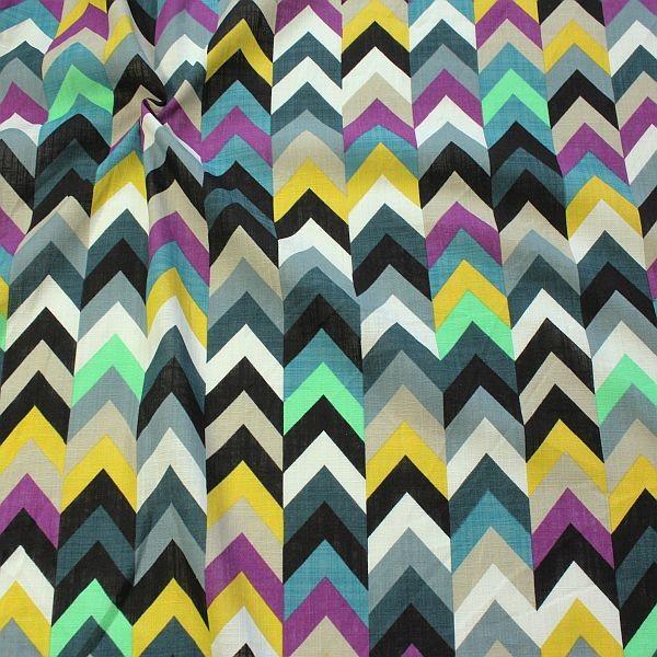 Baumwolle Viskose Modestoff Zick Zack Reihen Multicolor-Petrol