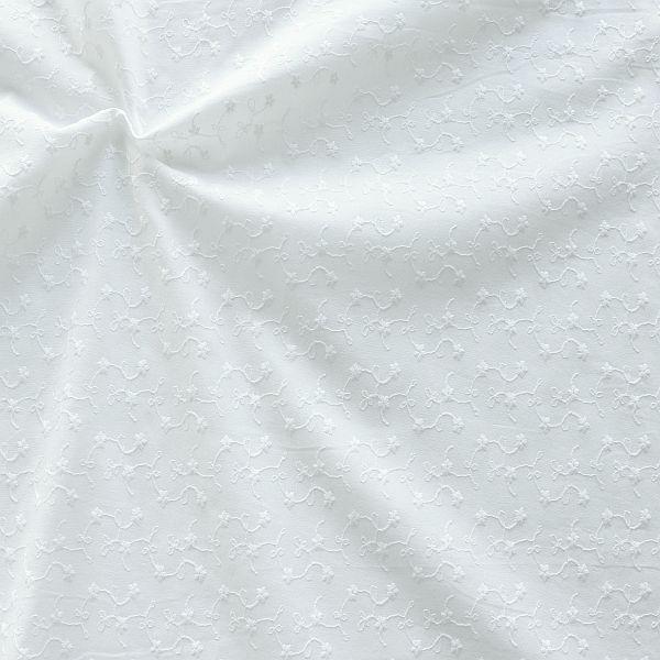 Baumwollstoff bestickt Blütenranken Weiss