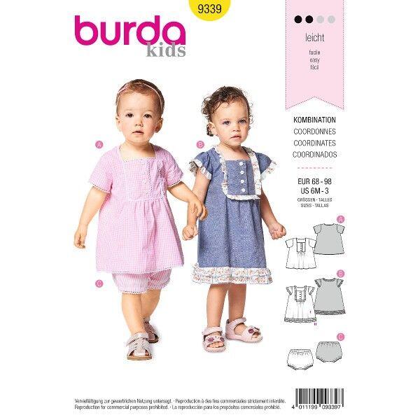 Kleid und Höschen – Hängerkleidchen mit Rüschen, Gr. 68 - 98, Schnittmuster Burda 9339