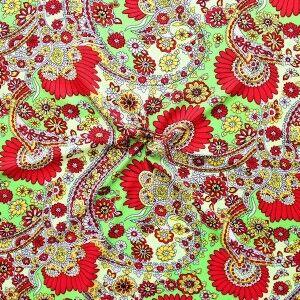"100% Viskose Javanaise ""Blumen Paisley XL"" Farbe Grün-Rot"