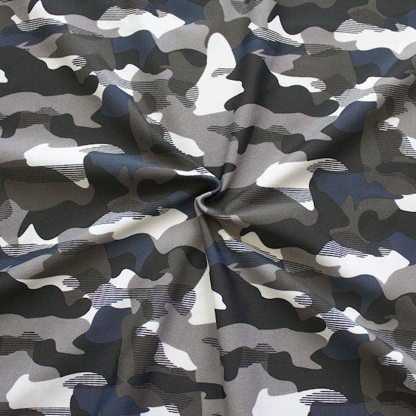 Bi-Stretch Jersey Badeanzug Stoff Camouflage Grau