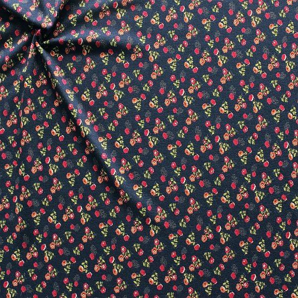 Viskose Stretch Jersey Little Flowers Dunkel-Blau