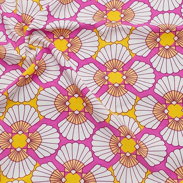 100% Viskose Javanaise Grafik Blüten Pink