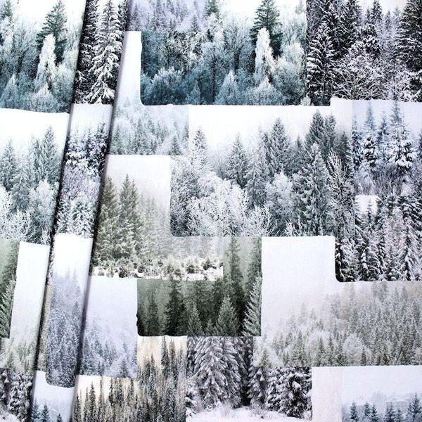 Dekostoff Digital Druck Winterwald Multicolor
