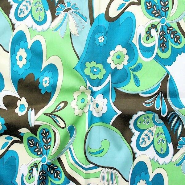 "100% Baumwolle Popeline ""Fantasy Flowers"" Farbe Petrol-Grün"