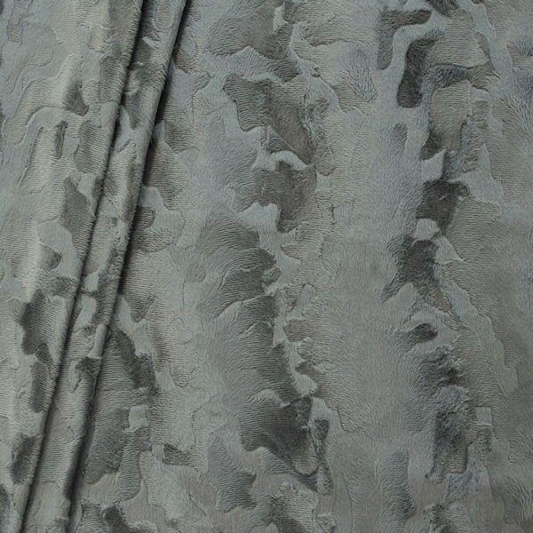 Tierfellimitat Velboa Kuhflecken Grau