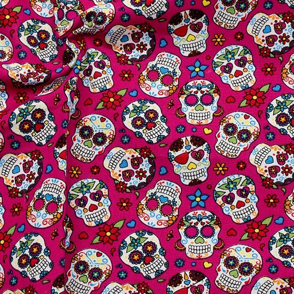 100% Baumwolle Popeline Hippie Skulls Fuchsia