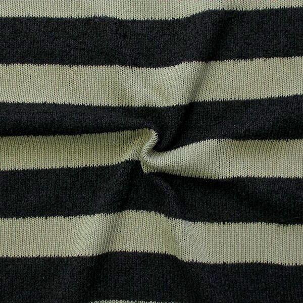 Strick Jersey Blockstreifen Schwarz-Khaki