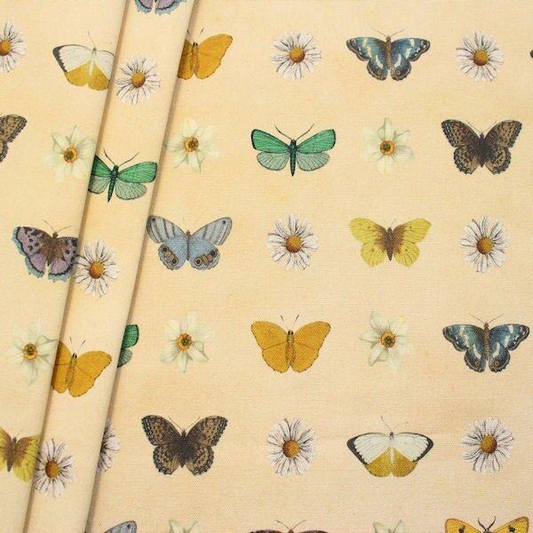 Dekostoff Digital Druck Blüten & Schmetterlinge Beige