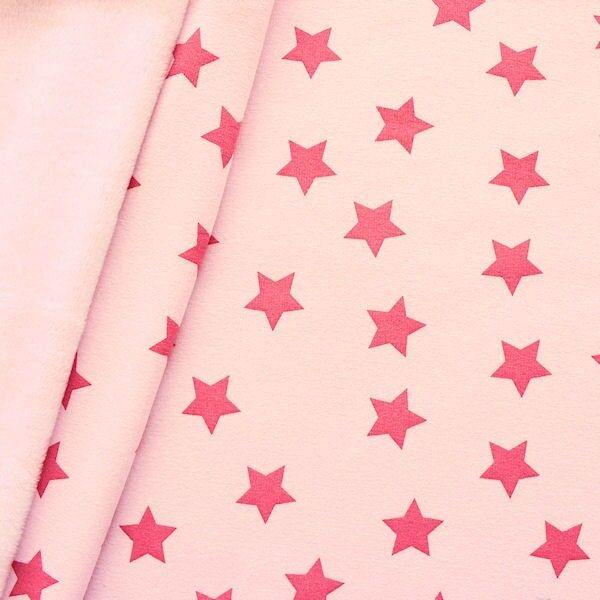 "2,00 Meter Alpenfleece Sweatshirt ""Sterne Groß"" Farbe Rosa"