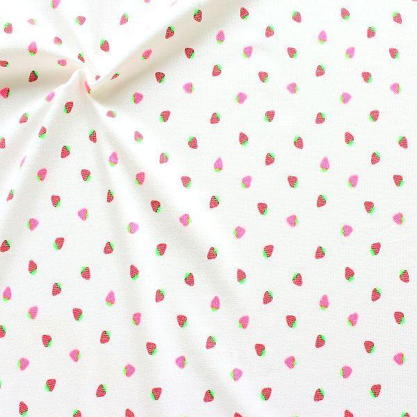 Baumwoll Stretch Jersey Kleine Erdbeeren Neon Weiss