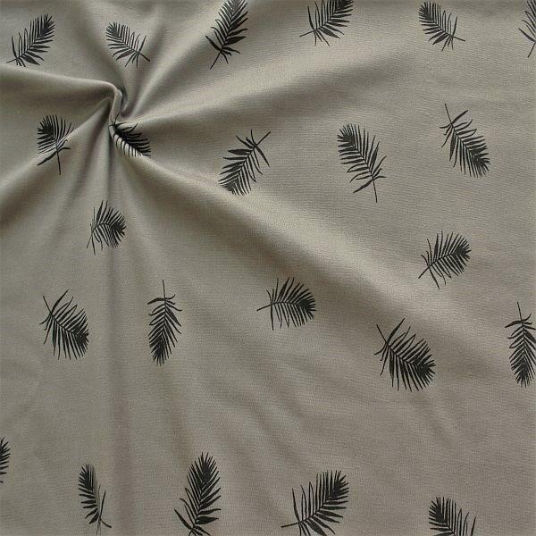 Sweatshirt Fleece Stoff Palmblätter Grau