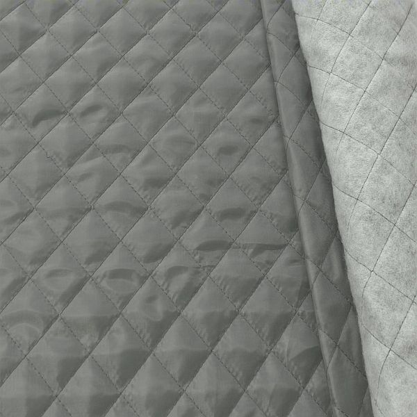 Steppstoff Futterstoff wattiert Rauten Klassik Grau