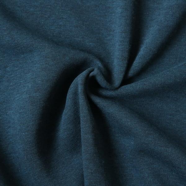Sweatshirt Baumwollstoff Melange Petrol-Blau