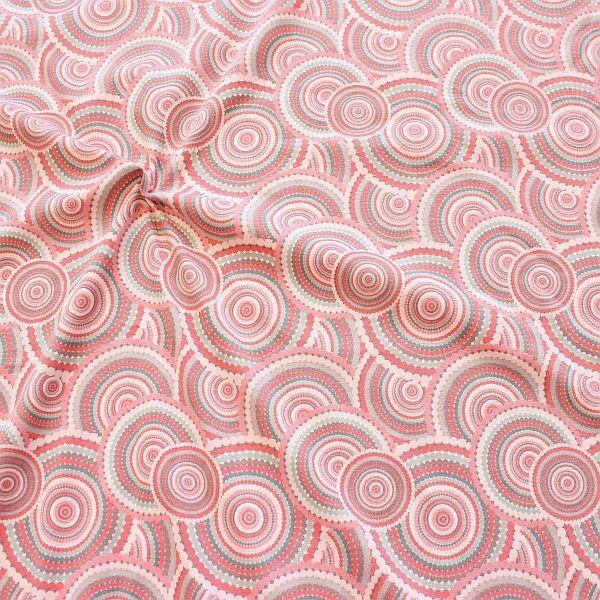 Baumwoll Stretch Jersey Boho Graphic Circles Rosa-Grau