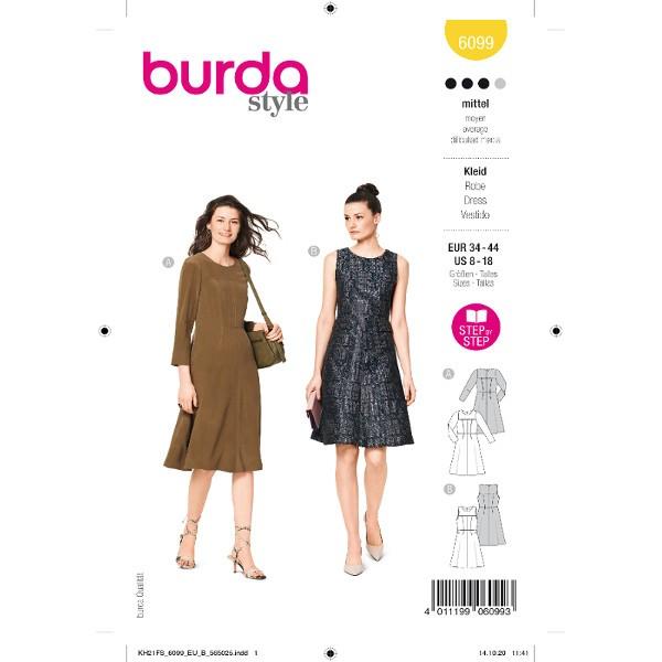 Schlichte, elegante Kleider, Gr. 34 - 44 Schnittmuster Burda 6099