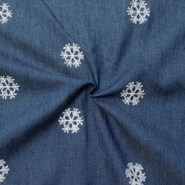 Baumwollstoff Chambray bestickt Schneeflocken Jeans-Blau