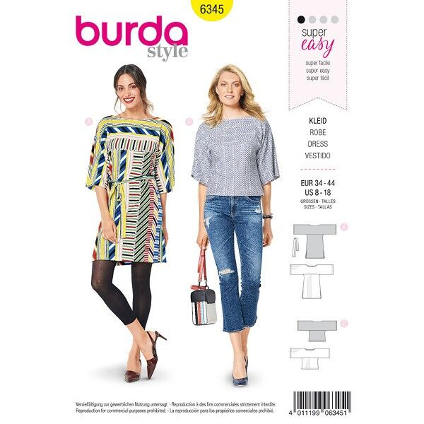 Blusenkleid, Bluse 34 - 44, Schnittmuster Burda 6345