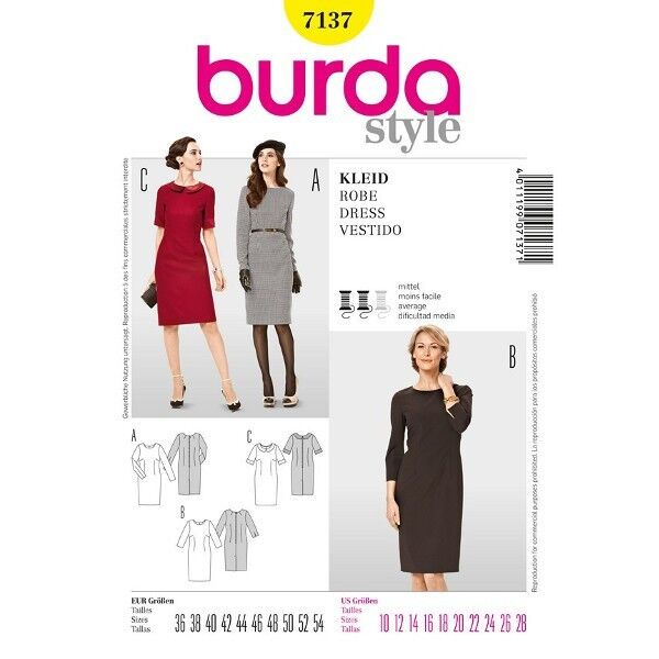 Kleid - Shiftkleid, Gr. 36 - 54, Schnittmuster Burda 7137