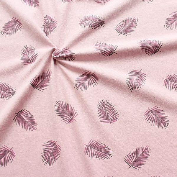Baumwoll Stretch Jersey Palmblätter Rosé