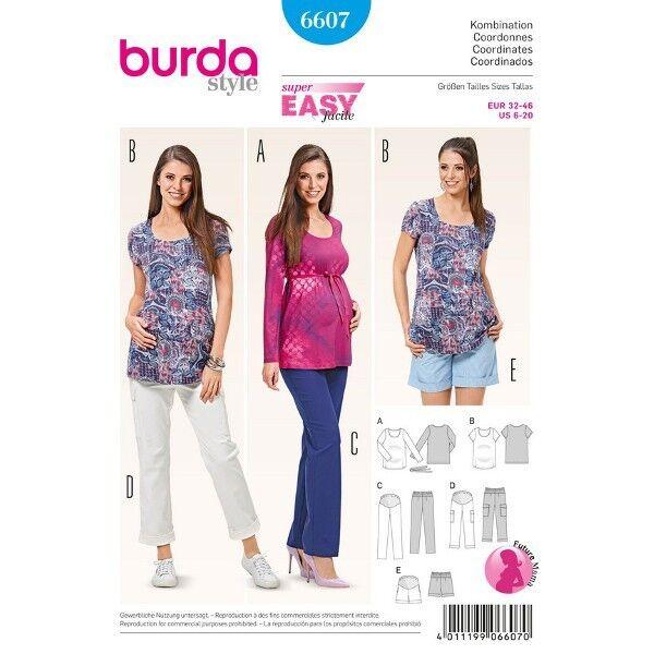 Umstandskombination - Hose, Bermudas mit Strickeinsatz - Shirt, Gr. 32 - 46, Schnittmuster Burda 660