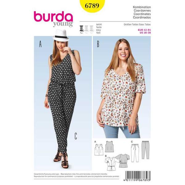 Bluse – V-Auschnitt, Hose – Pyjamastil, Gr. 42 - 54, Schnittmuster Burda 6789