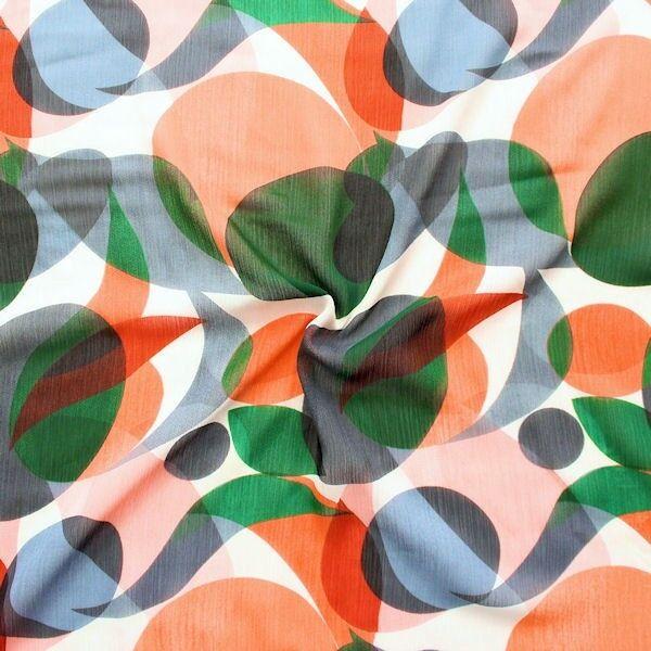 """Crêpe Chiffon """"Retro Grafik"""" Farbe Apricot-Grün"""