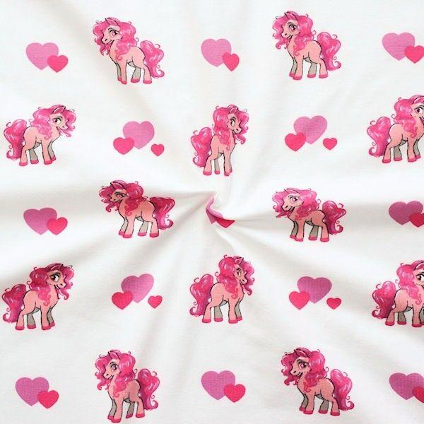 Baumwoll Stretch Jersey Lovely Pony Weiss