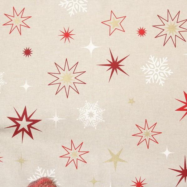 Dekostoff Halbpanama Leinen-Optik Weihnachtssterne Natur-Rot