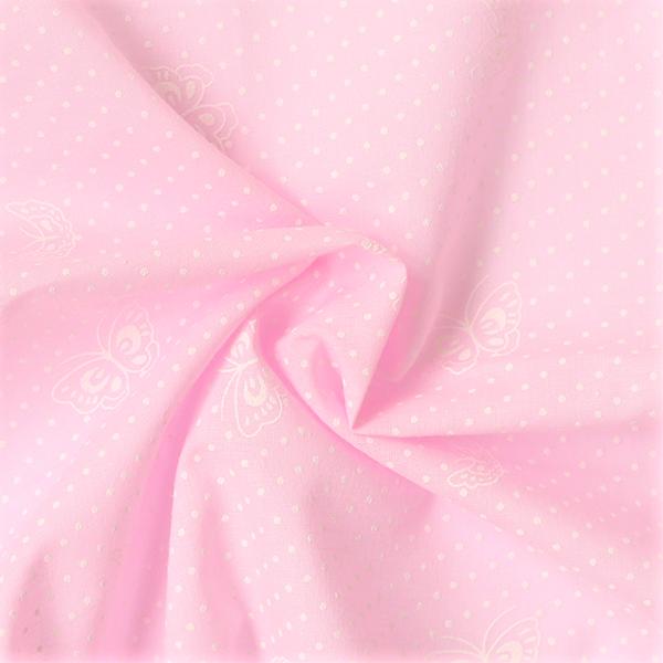 Baumwolle Batist Punkte & Schmetterlinge Rosa