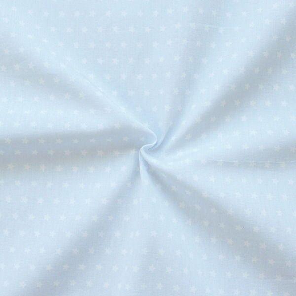 Baumwolle Popeline Sterne klein Hell-Blau Weiss