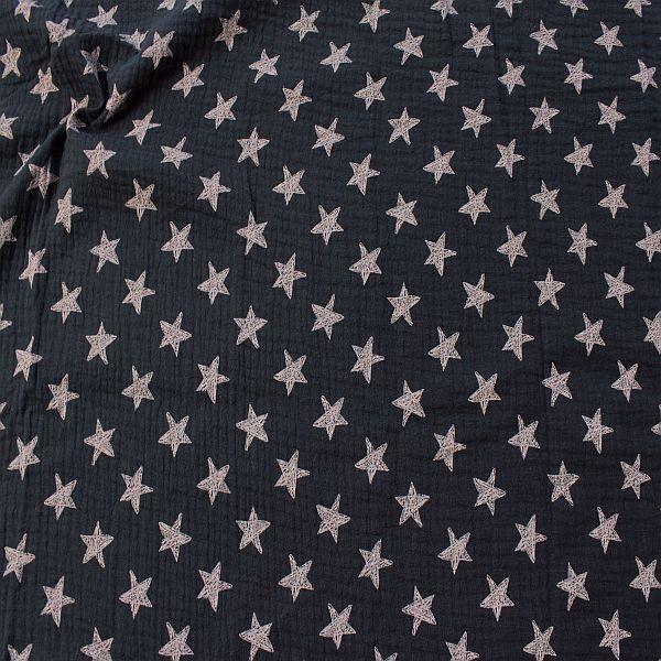 Baumwolle Musselin Sterne Dunkel-Blau
