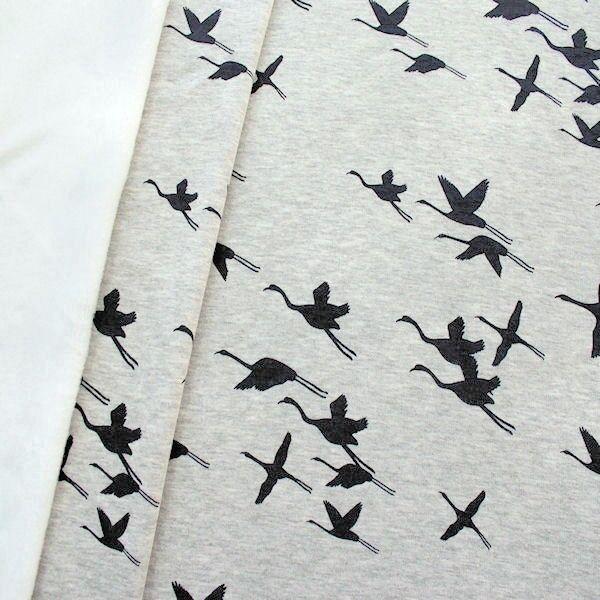 Alpenfleece Sweatshirt Kraniche Hell-Grau meliert