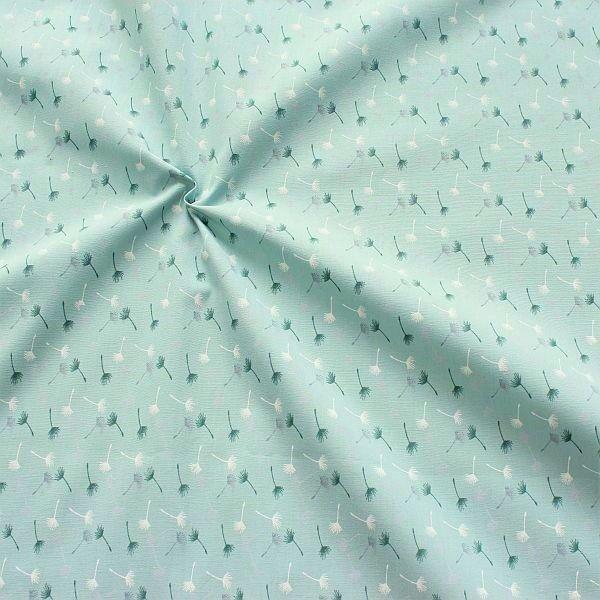 Baumwollstoff Pusteblumen klein Mint