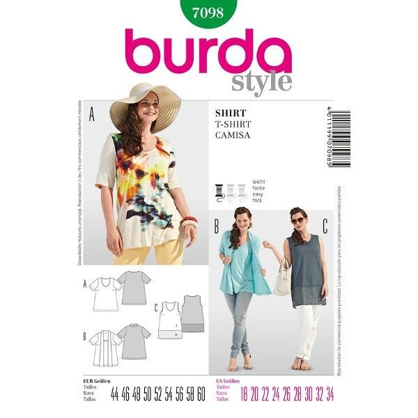 Shirt/ Top – Two in One, 44 - 60, Schnittmuster Burda 7098