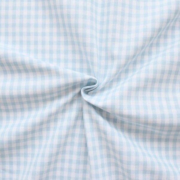 """100% Baumwollstoff """"Karos mittel"""" Farbe Hell-Blau Weiss"""