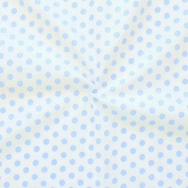 Baumwollstoff Tupfen Weiss Hell-Blau