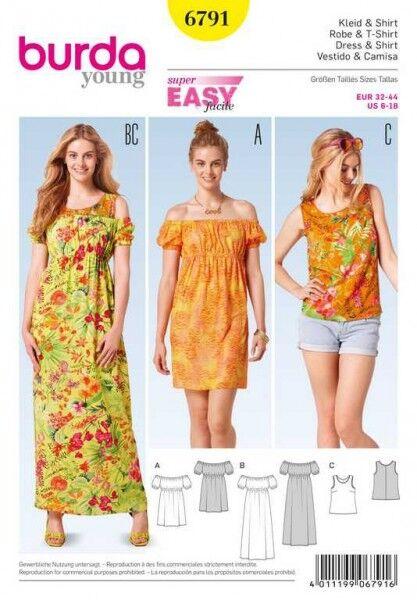 Kleid, Top – eingefasster Ausschnitt, Gr. 32 - 44, Schnittmuster Burda 6791