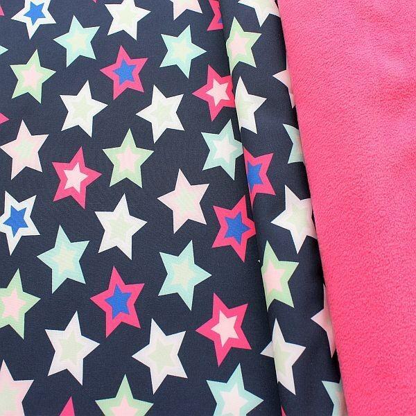 Softshell Fleece Stoff Sterne Mix Dunkel-Blau Pink